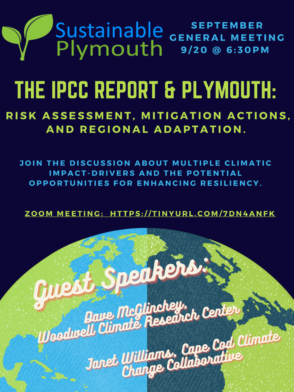 Sustainable Plymouth Meeting with Special Guests 9/20 at 6:30 PM